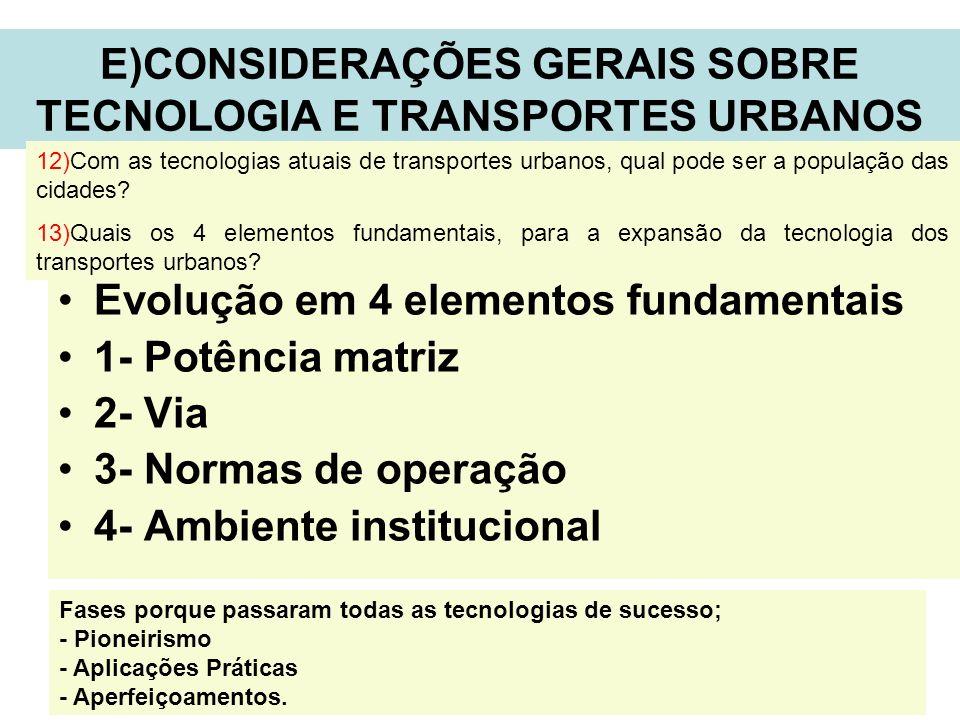 E)CONSIDERAÇÕES GERAIS SOBRE TECNOLOGIA E TRANSPORTES URBANOS