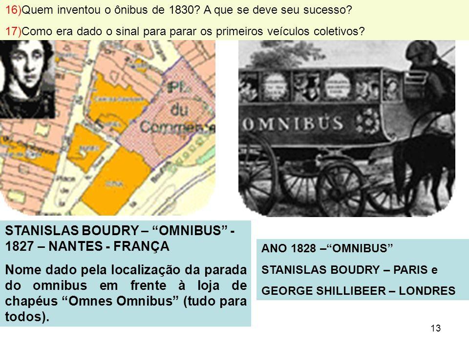 STANISLAS BOUDRY – OMNIBUS -1827 – NANTES - FRANÇA