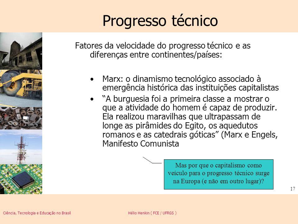 Progresso técnico Fatores da velocidade do progresso técnico e as diferenças entre continentes/países: