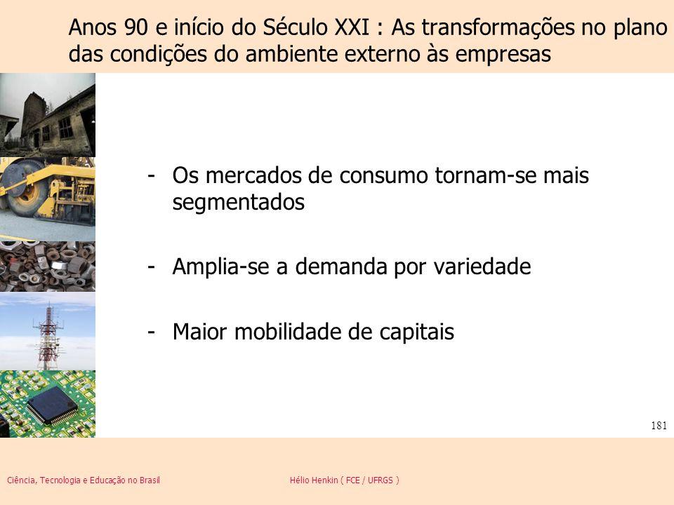 Anos 90 e início do Século XXI : As transformações no plano das condições do ambiente externo às empresas
