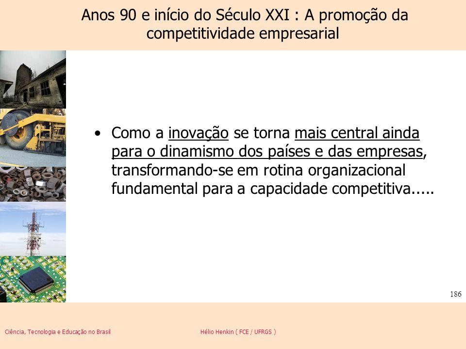 Anos 90 e início do Século XXI : A promoção da competitividade empresarial