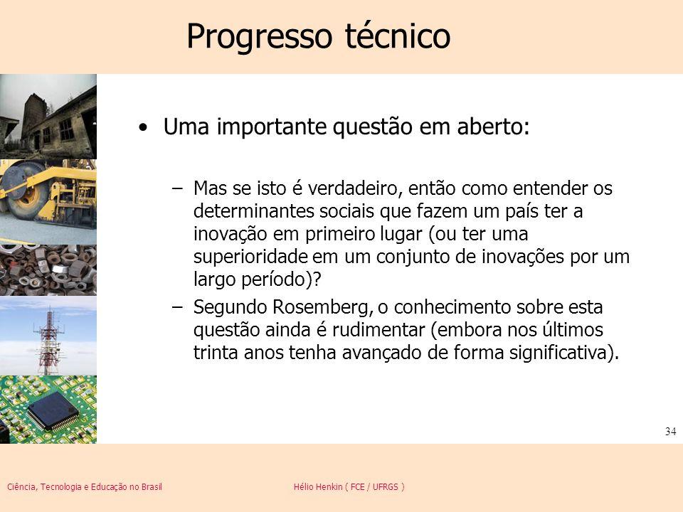 Progresso técnico Uma importante questão em aberto: