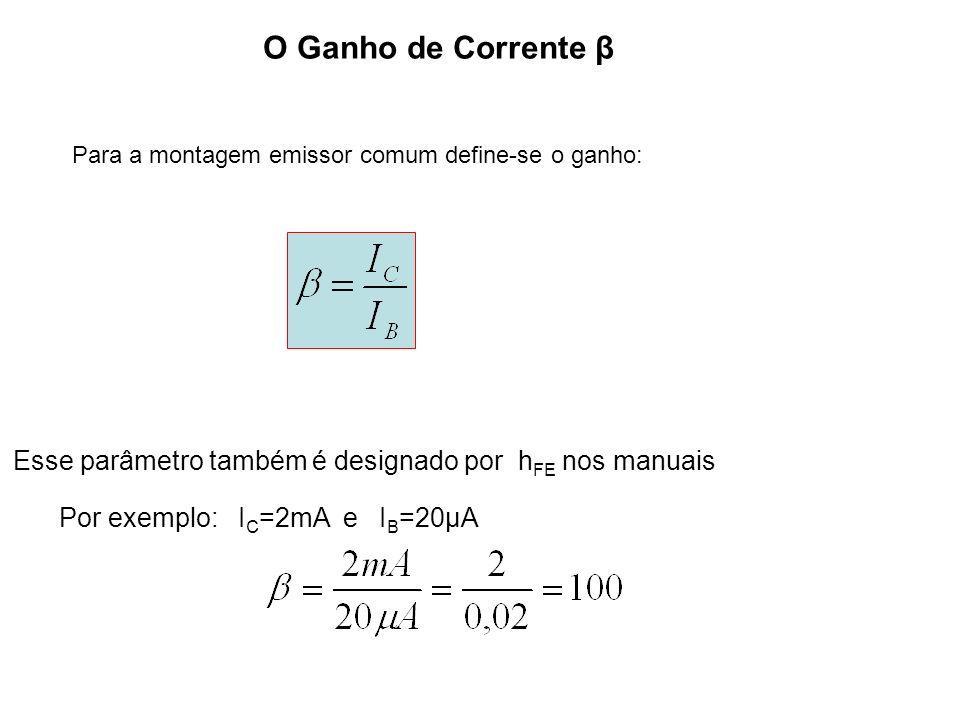 O Ganho de Corrente β Para a montagem emissor comum define-se o ganho: Esse parâmetro também é designado por hFE nos manuais.