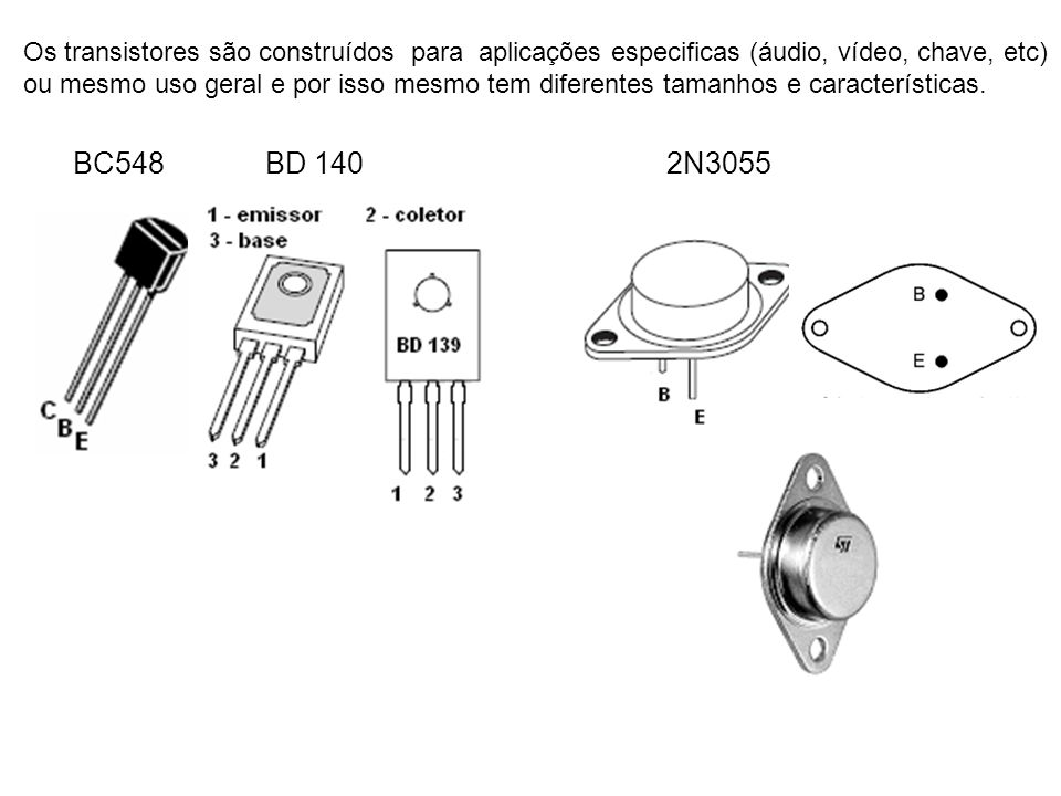 Os transistores são construídos para aplicações especificas (áudio, vídeo, chave, etc)
