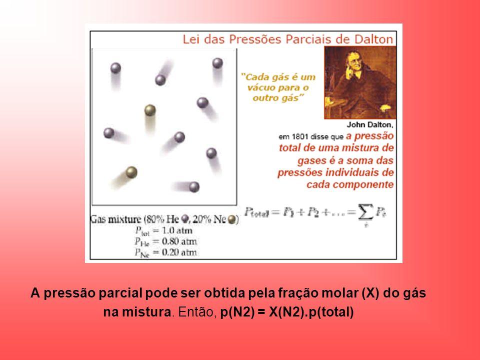 A pressão parcial pode ser obtida pela fração molar (X) do gás na mistura.