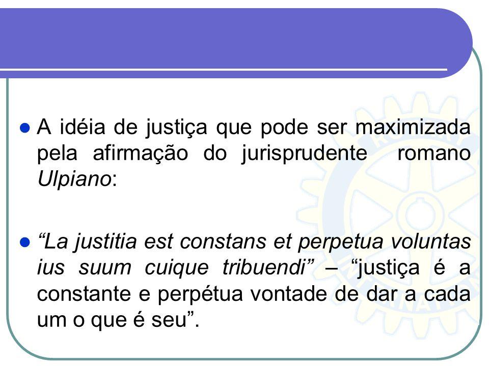 A idéia de justiça que pode ser maximizada pela afirmação do jurisprudente romano Ulpiano: