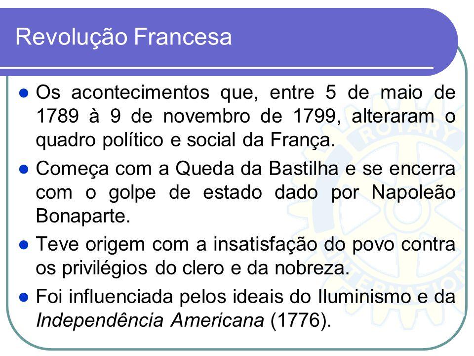 Revolução Francesa Os acontecimentos que, entre 5 de maio de 1789 à 9 de novembro de 1799, alteraram o quadro político e social da França.