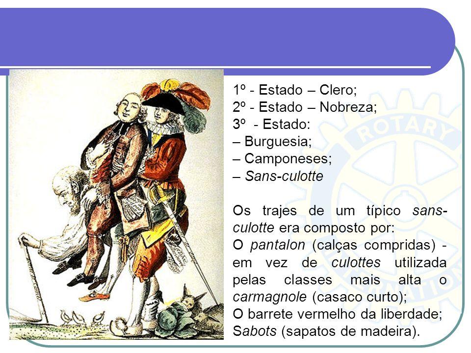 1º - Estado – Clero; 2º - Estado – Nobreza; 3º - Estado: – Burguesia; – Camponeses; – Sans-culotte.