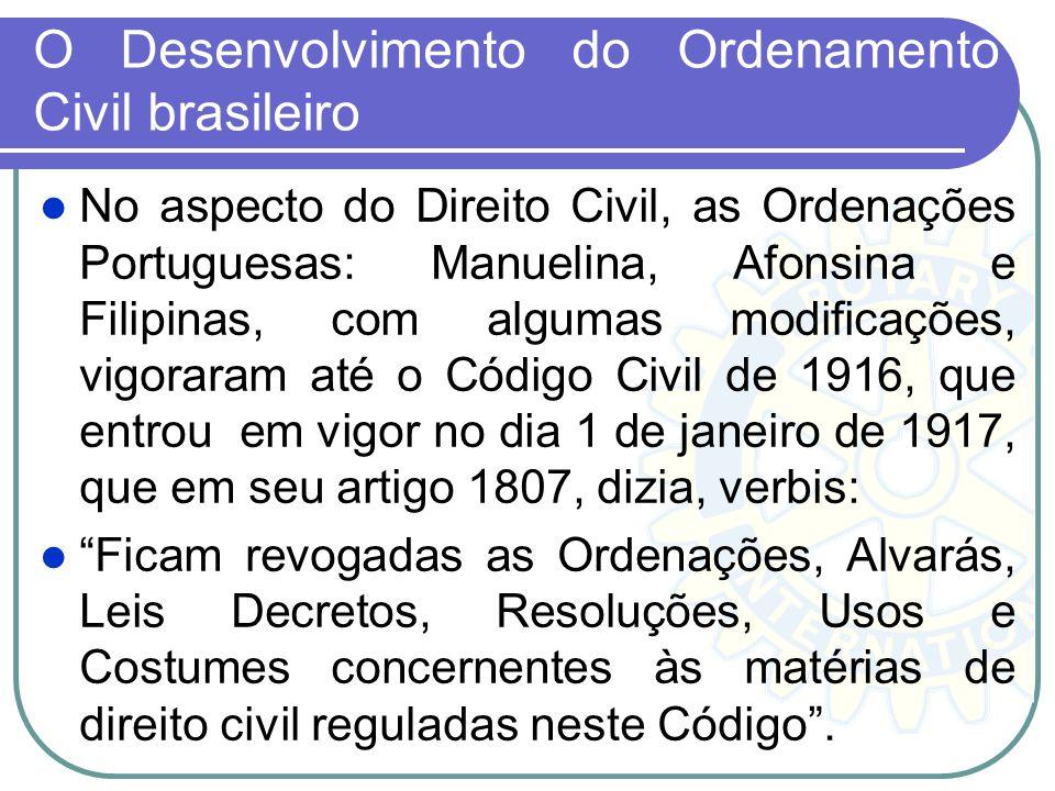 O Desenvolvimento do Ordenamento Civil brasileiro