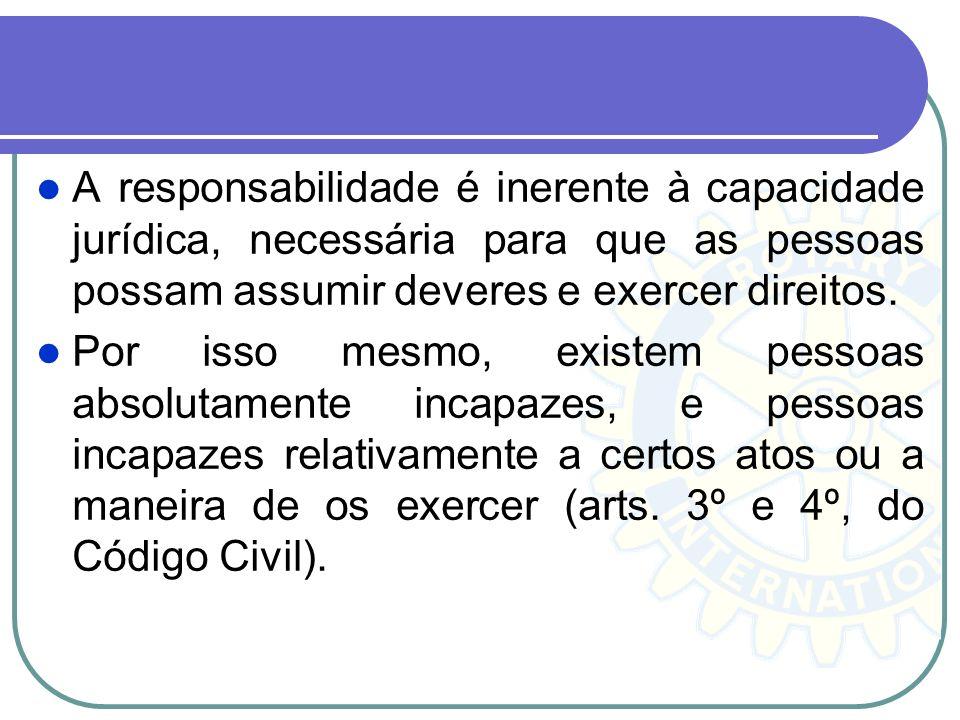 A responsabilidade é inerente à capacidade jurídica, necessária para que as pessoas possam assumir deveres e exercer direitos.