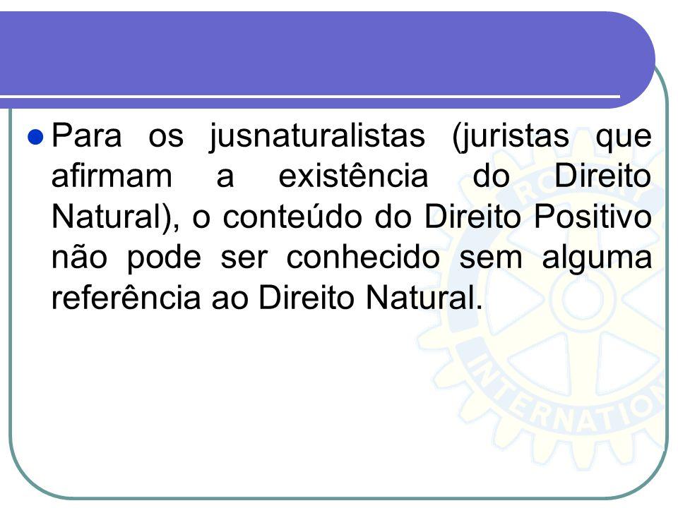 Para os jusnaturalistas (juristas que afirmam a existência do Direito Natural), o conteúdo do Direito Positivo não pode ser conhecido sem alguma referência ao Direito Natural.