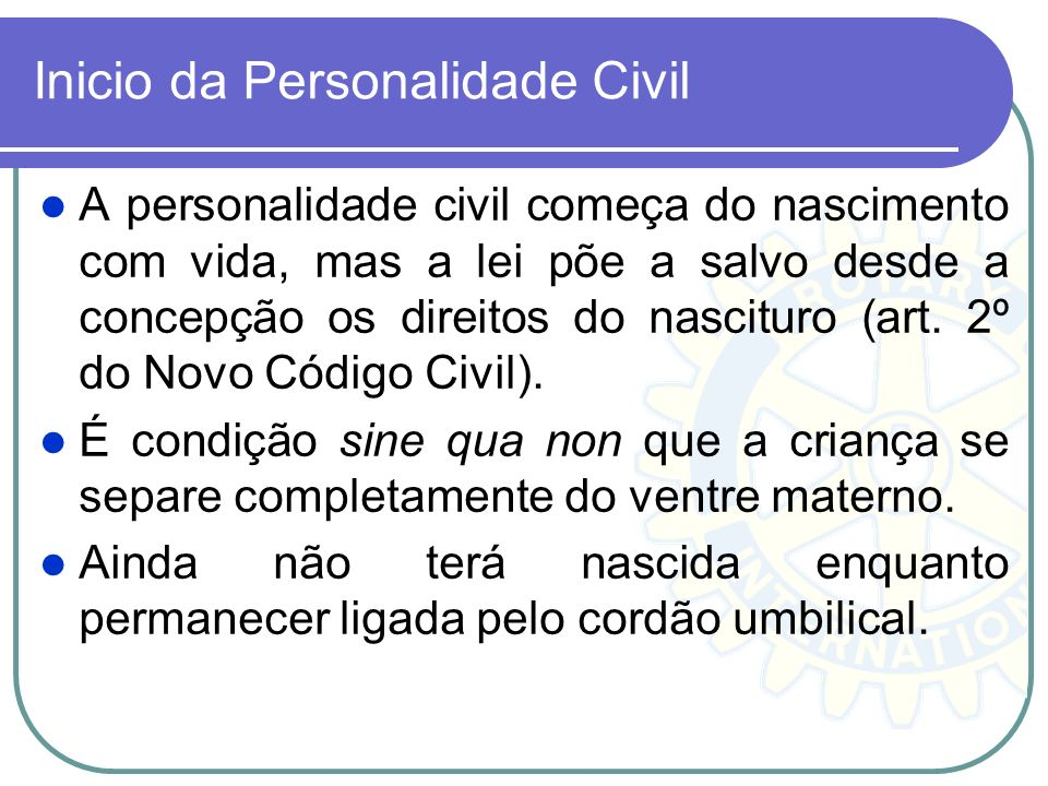 Inicio da Personalidade Civil