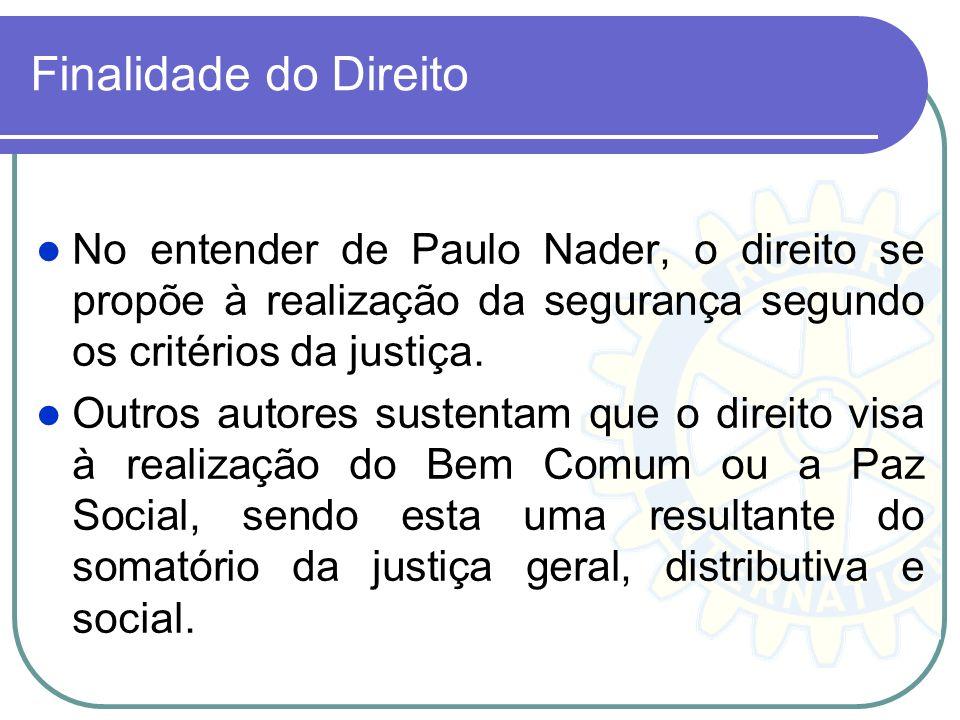 Finalidade do Direito No entender de Paulo Nader, o direito se propõe à realização da segurança segundo os critérios da justiça.