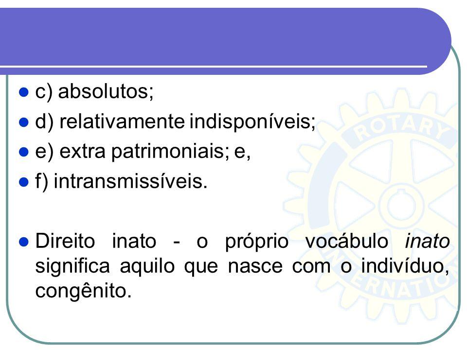 c) absolutos; d) relativamente indisponíveis; e) extra patrimoniais; e, f) intransmissíveis.