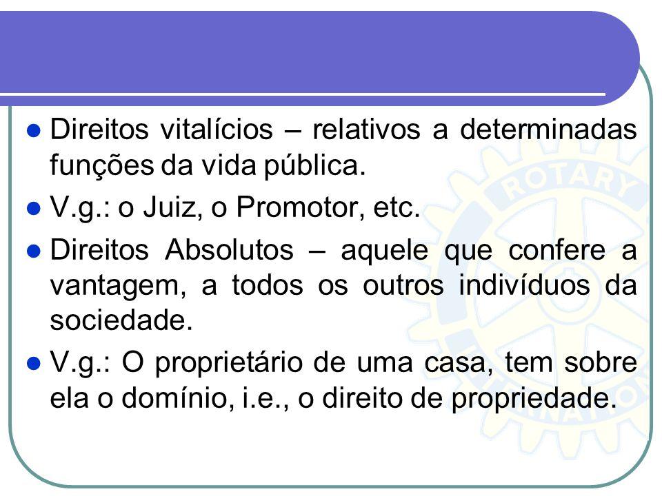 Direitos vitalícios – relativos a determinadas funções da vida pública.