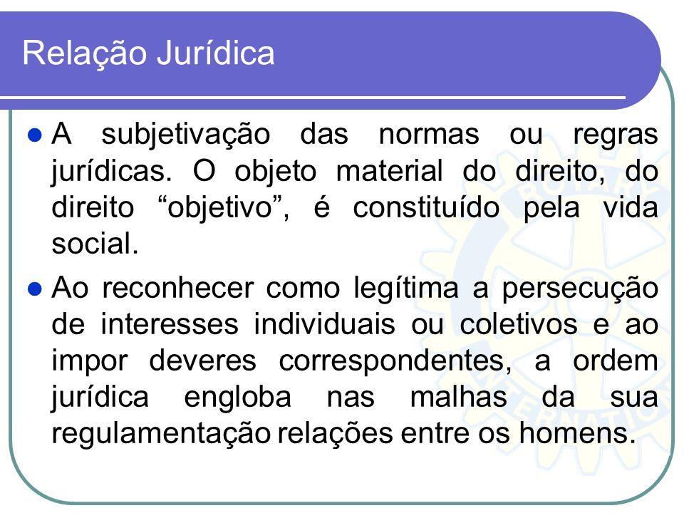 Relação Jurídica A subjetivação das normas ou regras jurídicas. O objeto material do direito, do direito objetivo , é constituído pela vida social.