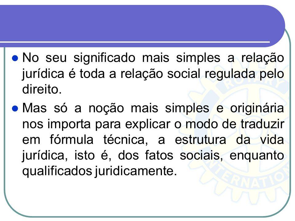 No seu significado mais simples a relação jurídica é toda a relação social regulada pelo direito.