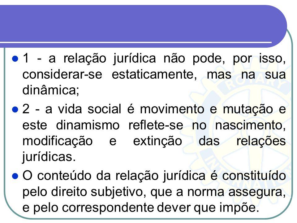 1 - a relação jurídica não pode, por isso, considerar-se estaticamente, mas na sua dinâmica;