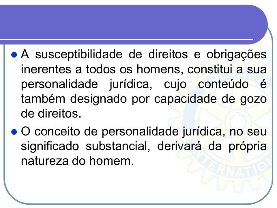 A susceptibilidade de direitos e obrigações inerentes a todos os homens, constitui a sua personalidade jurídica, cujo conteúdo é também designado por capacidade de gozo de direitos.