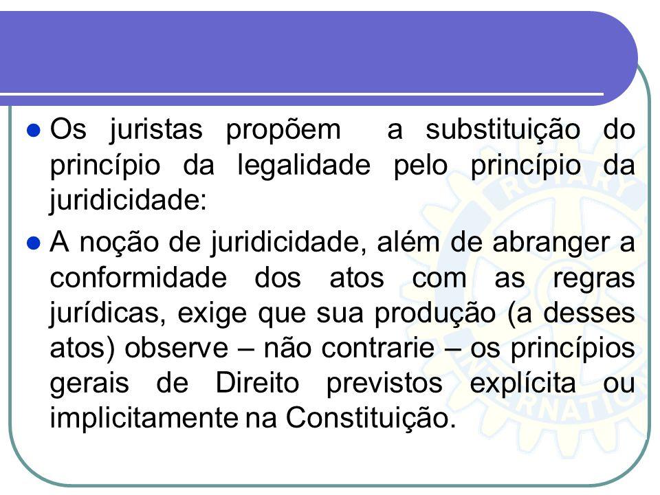 Os juristas propõem a substituição do princípio da legalidade pelo princípio da juridicidade: