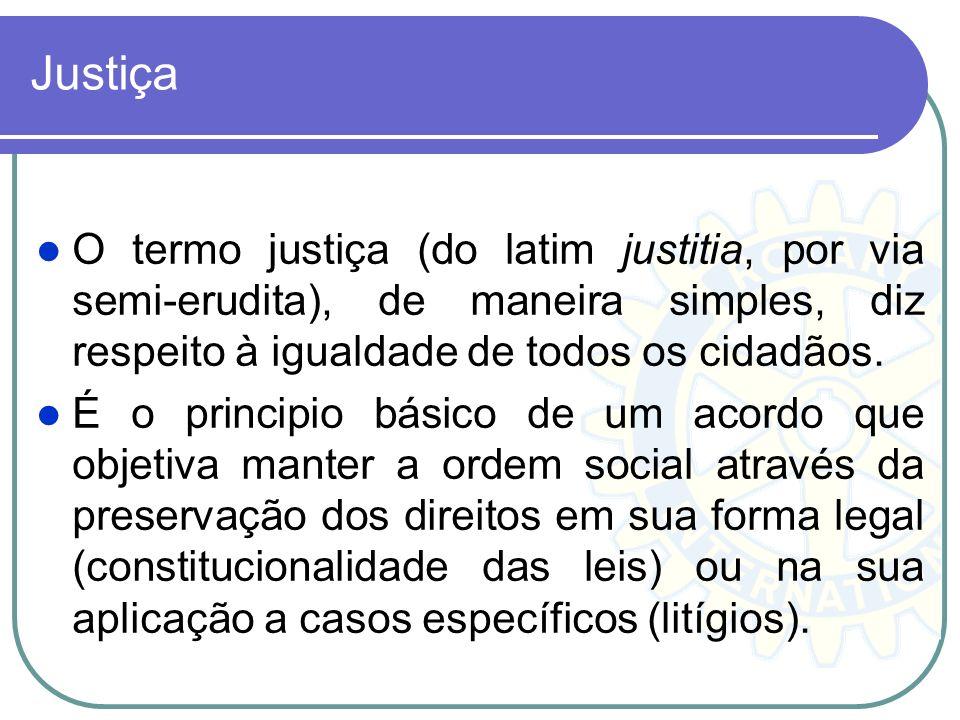 Justiça O termo justiça (do latim justitia, por via semi-erudita), de maneira simples, diz respeito à igualdade de todos os cidadãos.