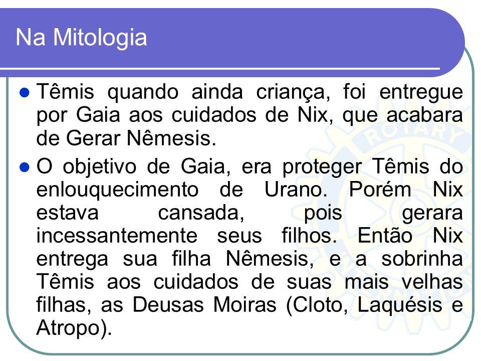 Na Mitologia Têmis quando ainda criança, foi entregue por Gaia aos cuidados de Nix, que acabara de Gerar Nêmesis.