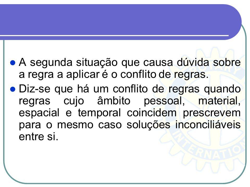 A segunda situação que causa dúvida sobre a regra a aplicar é o conflito de regras.