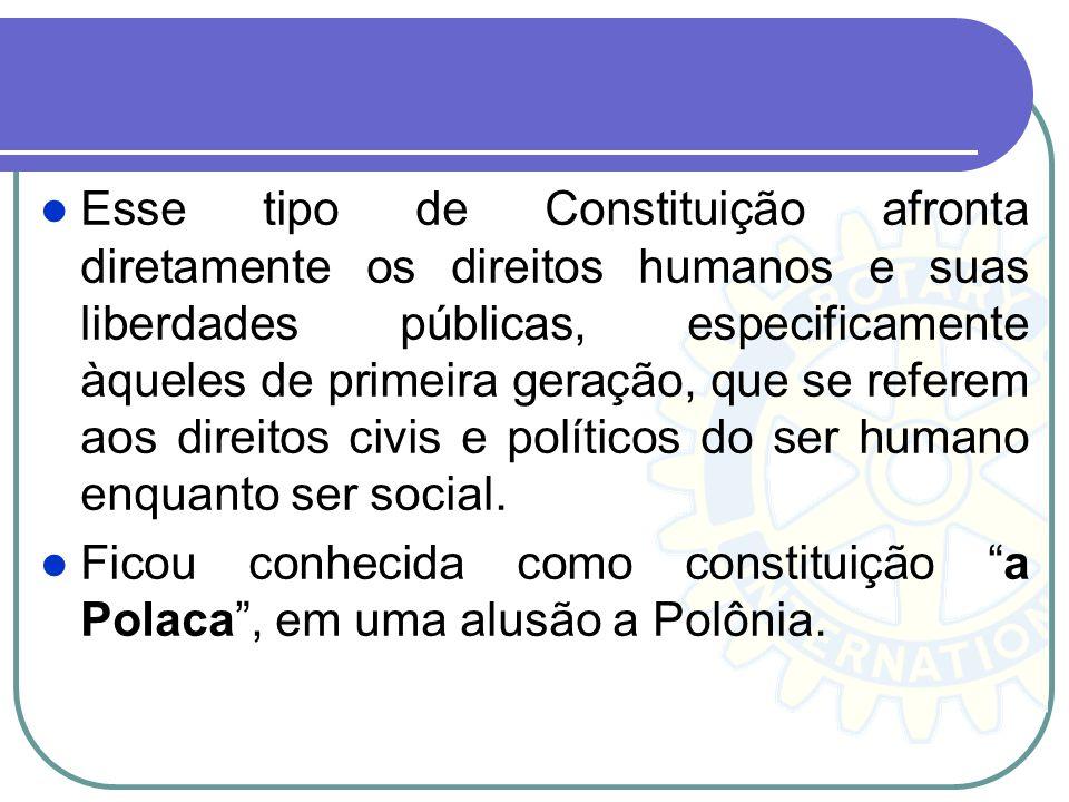 Esse tipo de Constituição afronta diretamente os direitos humanos e suas liberdades públicas, especificamente àqueles de primeira geração, que se referem aos direitos civis e políticos do ser humano enquanto ser social.