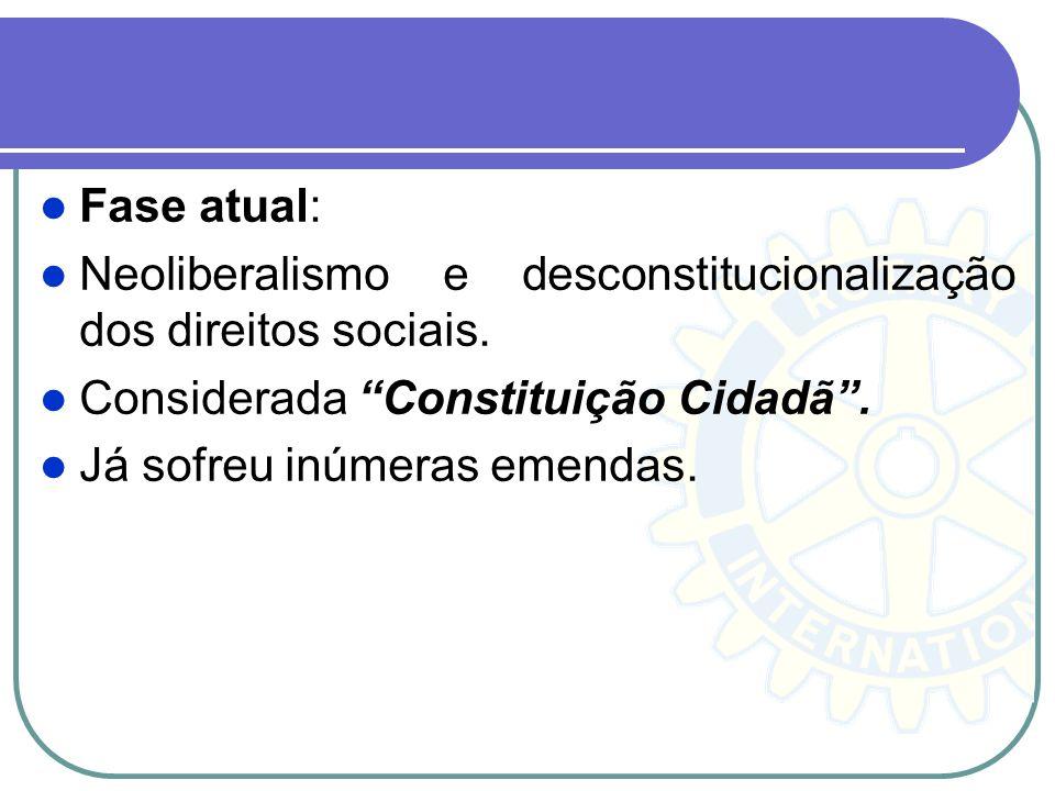 Fase atual: Neoliberalismo e desconstitucionalização dos direitos sociais. Considerada Constituição Cidadã .