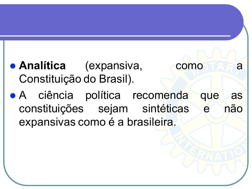 Analítica (expansiva, como a Constituição do Brasil).