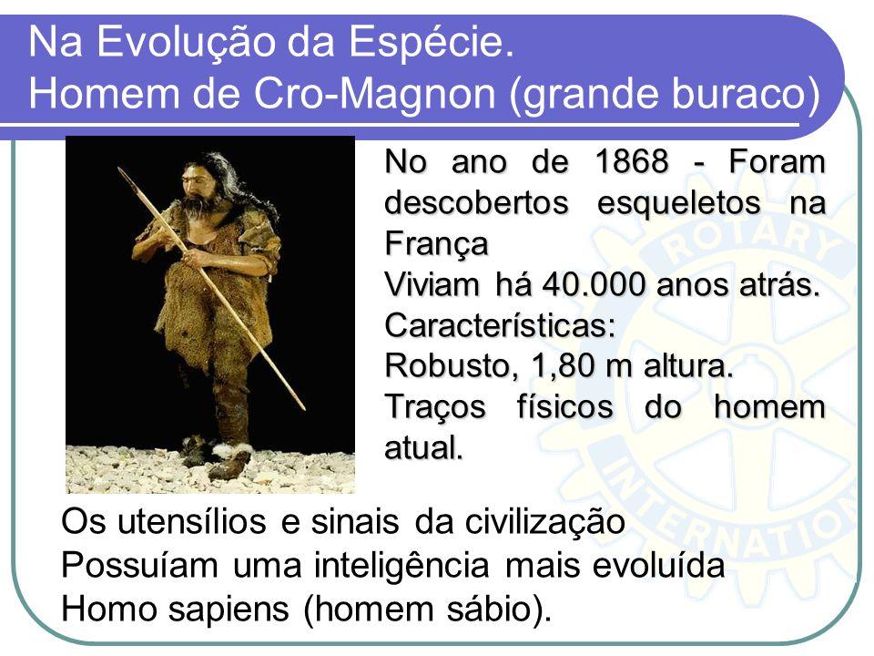 Na Evolução da Espécie. Homem de Cro-Magnon (grande buraco)