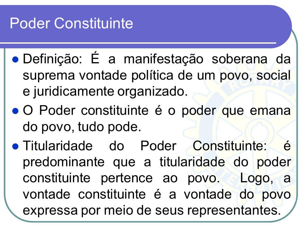 Poder Constituinte Definição: É a manifestação soberana da suprema vontade política de um povo, social e juridicamente organizado.