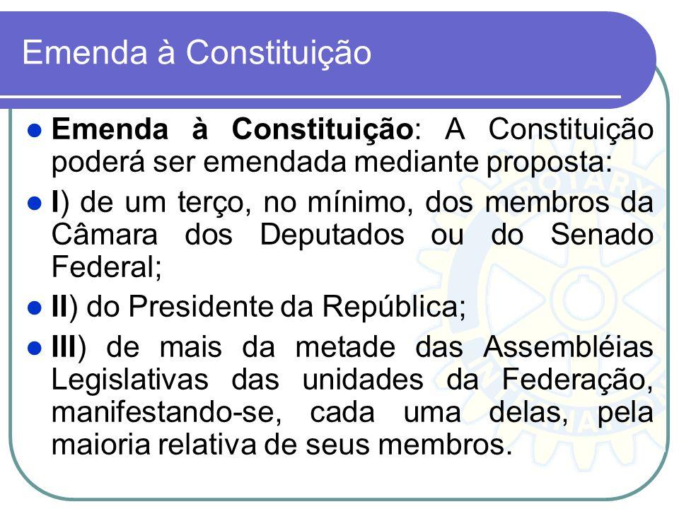 Emenda à Constituição Emenda à Constituição: A Constituição poderá ser emendada mediante proposta: