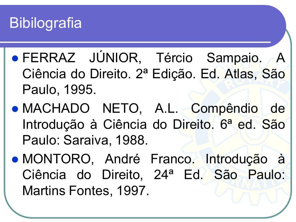 Bibilografia FERRAZ JÚNIOR, Tércio Sampaio. A Ciência do Direito. 2ª Edição. Ed. Atlas, São Paulo, 1995.