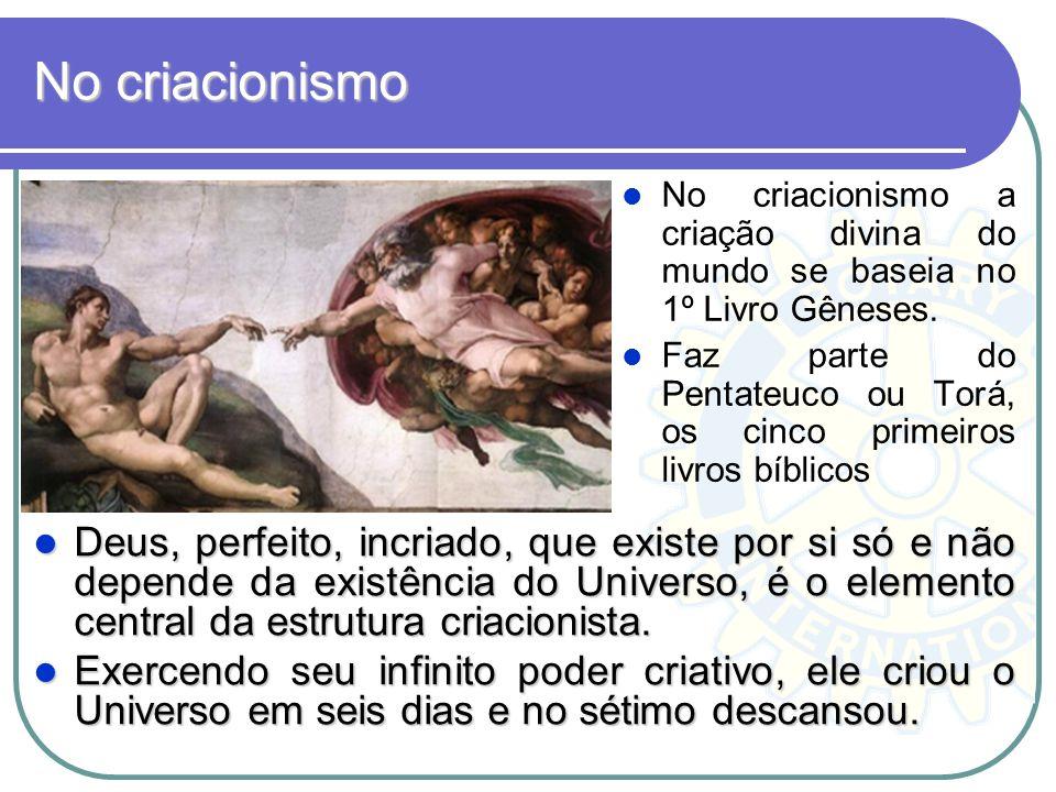 No criacionismo No criacionismo a criação divina do mundo se baseia no 1º Livro Gêneses.