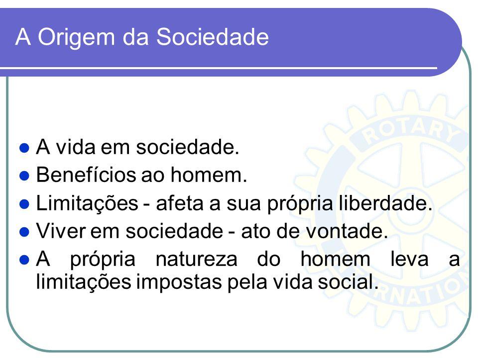 A Origem da Sociedade A vida em sociedade. Benefícios ao homem.