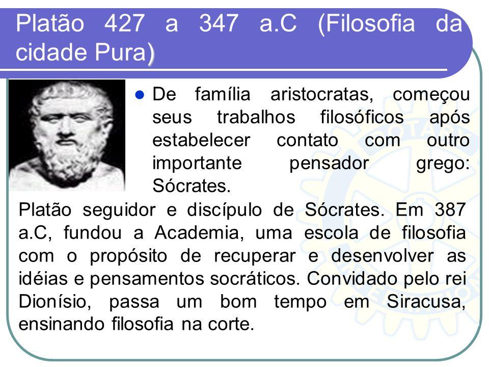 Platão 427 a 347 a.C (Filosofia da cidade Pura)