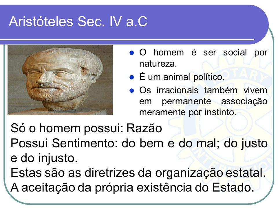 Aristóteles Sec. IV a.C Só o homem possui: Razão