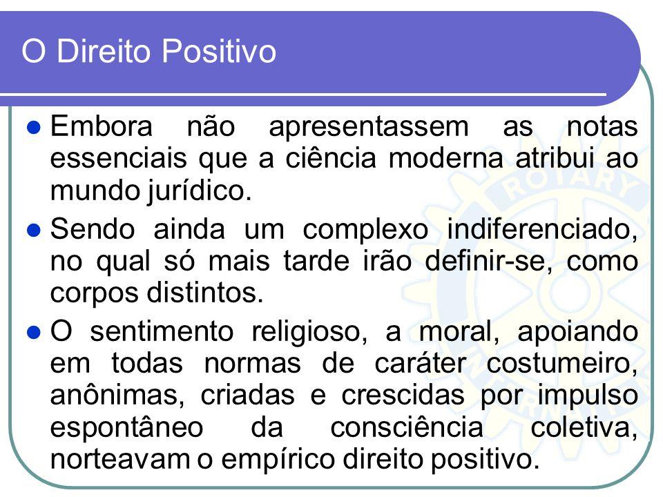 O Direito Positivo Embora não apresentassem as notas essenciais que a ciência moderna atribui ao mundo jurídico.
