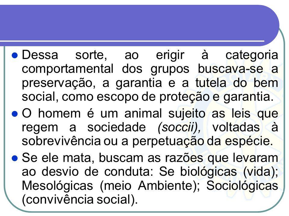 Dessa sorte, ao erigir à categoria comportamental dos grupos buscava-se a preservação, a garantia e a tutela do bem social, como escopo de proteção e garantia.