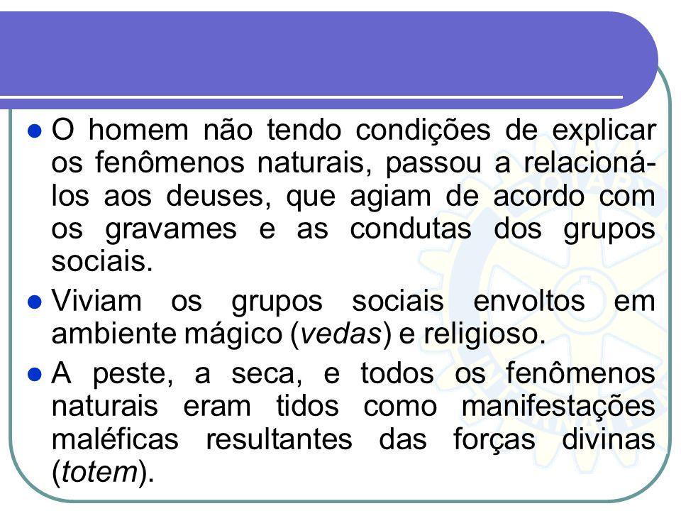O homem não tendo condições de explicar os fenômenos naturais, passou a relacioná-los aos deuses, que agiam de acordo com os gravames e as condutas dos grupos sociais.