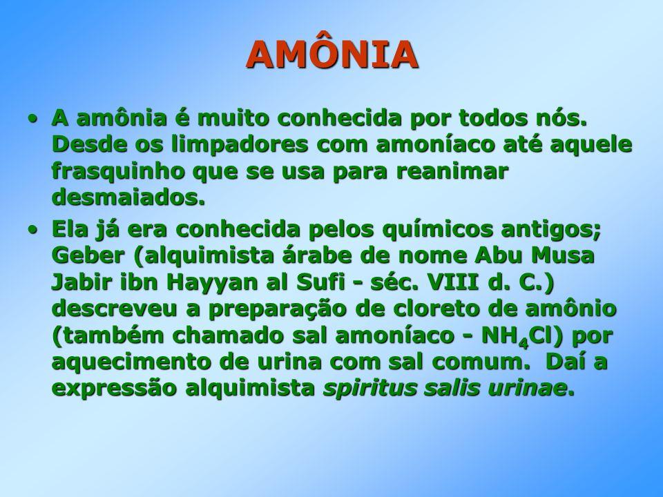 AMÔNIA A amônia é muito conhecida por todos nós. Desde os limpadores com amoníaco até aquele frasquinho que se usa para reanimar desmaiados.