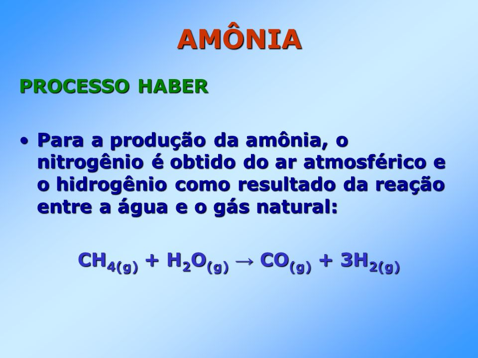 CH4(g) + H2O(g) → CO(g) + 3H2(g)
