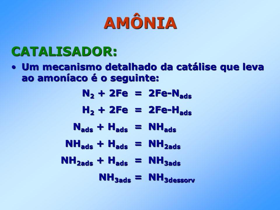 AMÔNIA CATALISADOR: Um mecanismo detalhado da catálise que leva ao amoníaco é o seguinte: N2 + 2Fe = 2Fe-Nads.