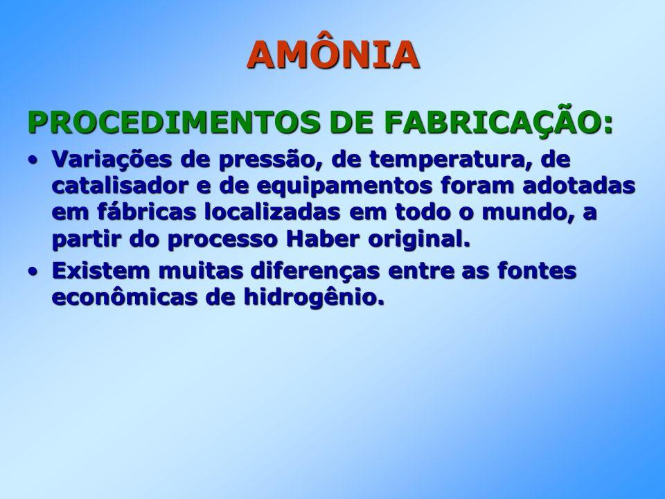 AMÔNIA PROCEDIMENTOS DE FABRICAÇÃO: