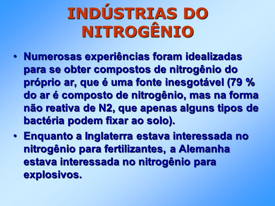 INDÚSTRIAS DO NITROGÊNIO