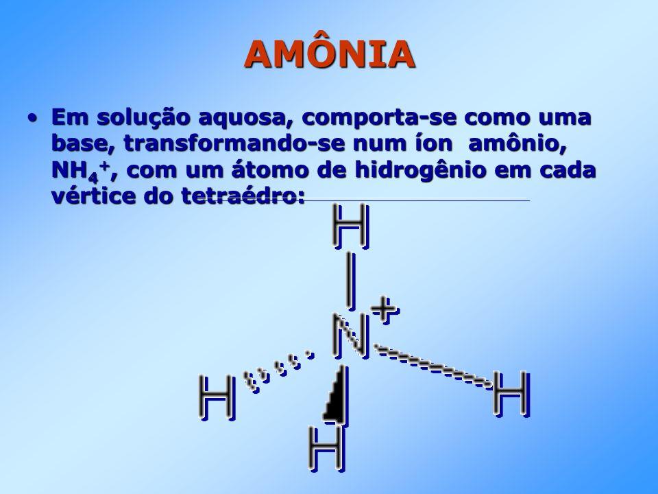AMÔNIA Em solução aquosa, comporta-se como uma base, transformando-se num íon amônio, NH4+, com um átomo de hidrogênio em cada vértice do tetraédro: