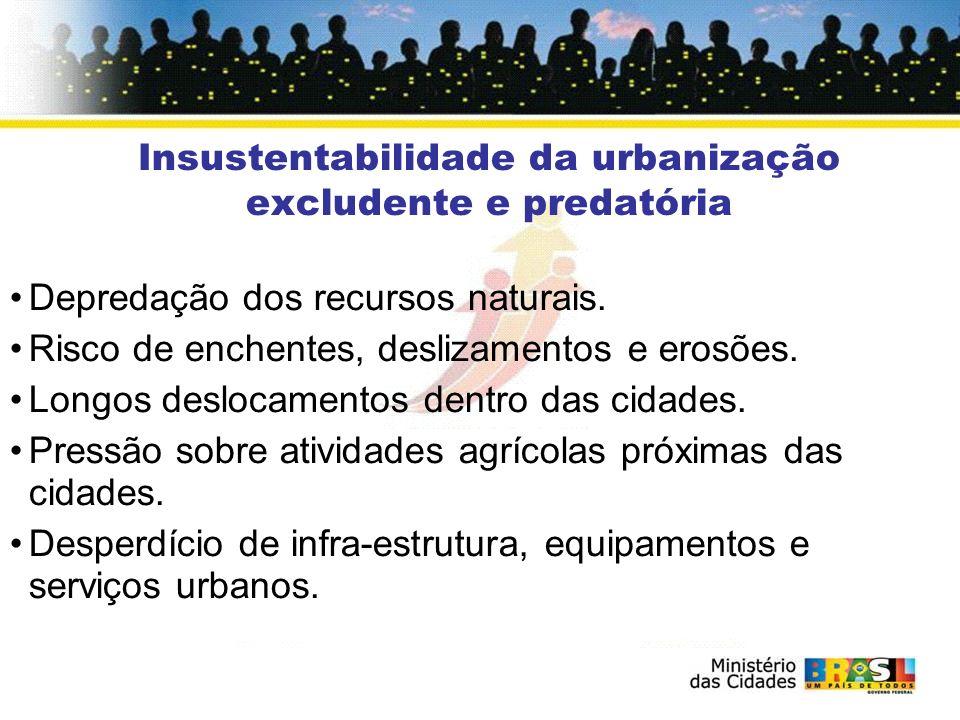 Insustentabilidade da urbanização excludente e predatória