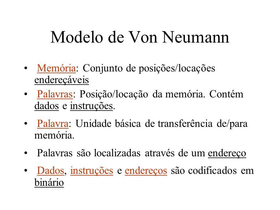 Modelo de Von Neumann Memória: Conjunto de posições/locações endereçáveis. Palavras: Posição/locação da memória. Contém dados e instruções.