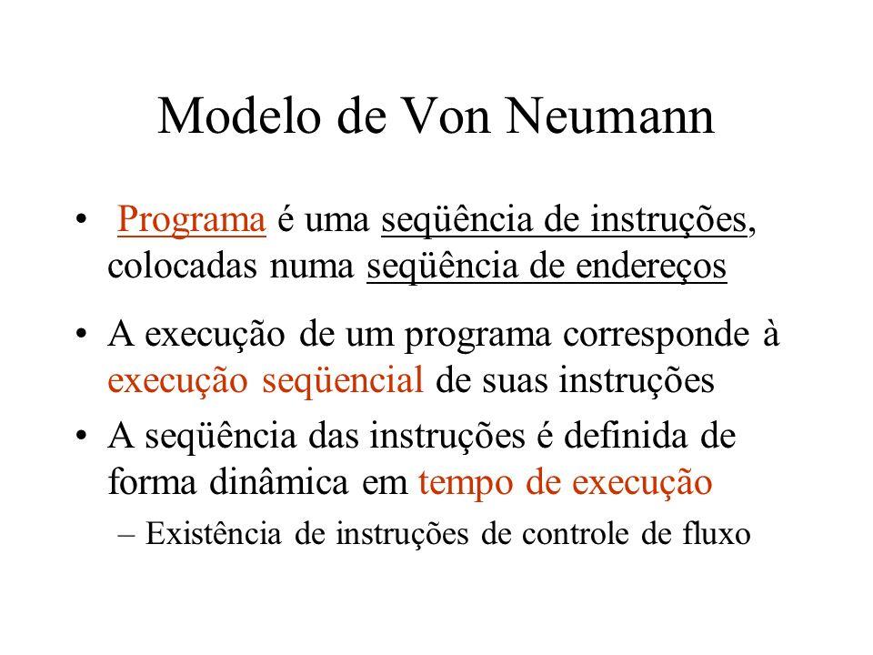 Modelo de Von Neumann Programa é uma seqüência de instruções, colocadas numa seqüência de endereços.